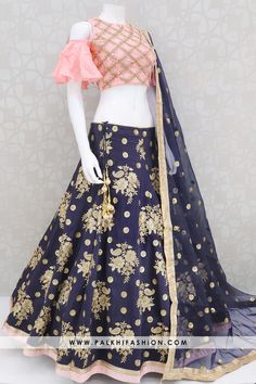 Trendy BlueLight Pink Handwork Silk Lehenga Set From Palkhi Fashion Indian Fashion Dresses, Indian Gowns Dresses, Dress Indian Style, Indian Designer Outfits, Indian Outfits, Corset Dresses, Pakistani Outfits, Indian Wear, Designer Dresses