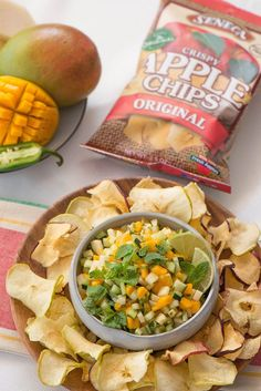 Seneca Snacks Apple Chips are the perfect scoop for this sweet and spicy refreshing fruit pico de gallo salad.
