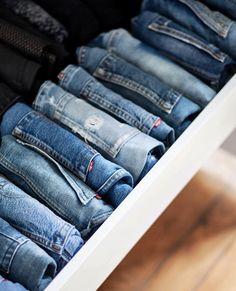 ~ Jean Organization, Dresser Drawer Organization, Best Closet Organization, Wardrobe Organisation, Diy Organisation, Closet Storage, Organizing, Clothes Shelves, Baby Clothes Storage