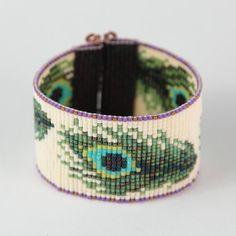 Peacock Feathers Bead Loom Bracelet Bohemian Boho Artisanal Jewelry Beaded Romantic Green Blue Irridescent Intricate Unusual