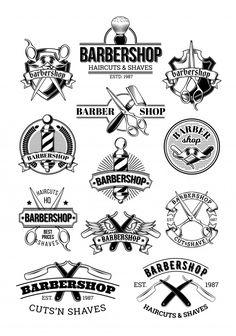 Set of barbershop logos signage Royalty Free Vector Image , Barber Store, Barber Shop Decor, Barber Logo, Barber Tattoo, Graphic Design Cv, Logo Design, Cafe Design, Design Design, Vector Pop