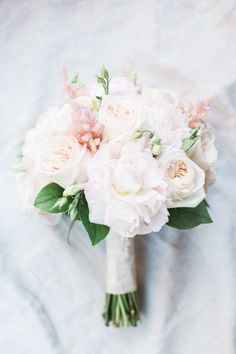 Blush Bridal Bouquet, Florida Weddings, Peonies, Roses, Real Florida Wedding: Christina Frate and Andrew Criggs, The Ritz-Carlton, Naples | Weddings Illustrated #weddingbouquets