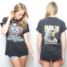 Orlando Harley, Biker Fashion, Biker Style, Band Tees, Shirt Dress, T Shirt, Harley Davidson, My Style, Vintage