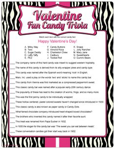 Printable Valentine Fun Candy Trivia, other adult V-day games Funny Valentine, Valentines Day Trivia, Valentines Day Activities, Valentine Day Crafts, Happy Valentines Day, Valentine Party, Printable Valentine, Valentine Ideas, Secret Valentine