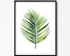 Palm Leaf, Palm Print, Palm Leaf Watercolor, Palm Tree, Botanical Print, Tropical Art Set, Botanical Art, Tropical Leaf, Tropical Art.