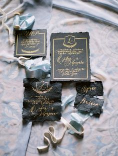 Noir wedding invitation suite | Greek Mythology Wedding Inspiration | Photos by Elena Pavlova