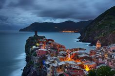 """Vernazza Twilight"" Fine Art Print, Cinque Terre, Liguria, Italy, Mediterranean Sea, Fishing Village, Night, Boats - Travel Photography, Print, Wall Art. Title: ""Vernazza Twilight"" - Taken in Vernazza, Cinque Terre, Italy. Medium: Archival grade print on professional quality photo papers."