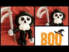 You will need these balloons: 1 black 350 1 white 350 1 black 260 1 grey 160 It is an easy, fast and cute design perfect for the Halloween season. Halloween Balloons, Balloon Animals, Halloween Season, Grim Reaper, Cute Designs, Mickey Mouse, Death, Tutorials, Seasons