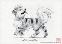 Growlithe  5 x 7 print pokemon drawing art by DrawingsofHeroes, $9.00