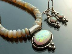 Australian Opal necklace and earrings
