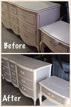 Vintage french provincial desk in annie sloan paris grey for Schreibtisch lackieren