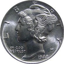 Mercury Dime for good luck! (Via Ellen Dugan)  Where can I get one of these?!? I'm constantly looking!