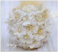 vintage lace and pearls bridal bouquet Vintage Bridal Bouquet, Bridal Brooch Bouquet, Brooch Bouquets, Bridal Flowers, Lace Flowers, Fabric Flowers, Wedding Bouquets, Flower Bouquets, Lace Fabric