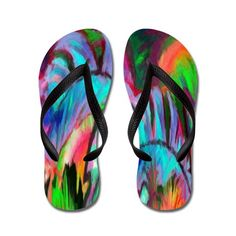 Abstract Rainbow Flip Flops on CafePress.com