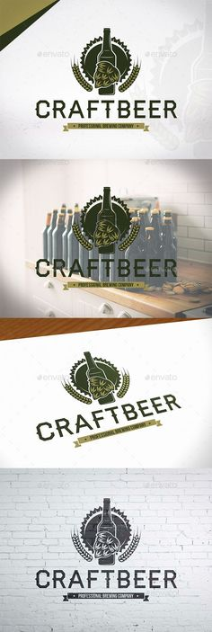 Brewing Craft Beer Logo: Logo Crests Design Template by BossTwinsMusic. Beer Logo Design, Alcohol Bar, Christmas Tree Cookies, Beer Taps, Beer Festival, Logo Food, Beer Bottle, Bottle Shop, Business Card Logo