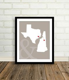 Personalized Wedding Gift  : Custom Engagement Present  - 8x10 / Bridal Shower Gift - Two states, travel map. $27.00, via Etsy. Umm, yes.