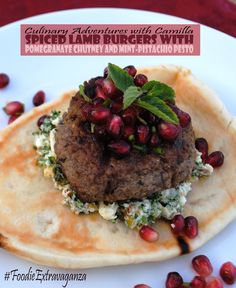 Spiced Lamb Burgers with Pomegranate Chutney and Mint-Pistachio Pesto for #FoodieExtravaganza