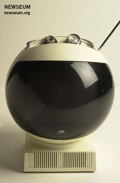 "JVC produced this ""Videosphere"" television set, circa 1979, with a futuristic look and feel, evoking an astronaut's helmet. (Gift, Dale Sparks)"