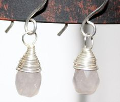 Rose Quartz Sterling Silver Wire Wrapped Briolette by Beazora