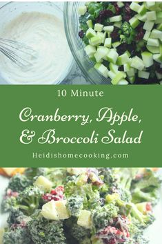 This easy broccoli apple salad recipe is made with cranberries and a delicious, creamy dressing. It only takes 10 minutes to make! This healthy side dish is perfect for potlucks, picnics, BBQs, and baby showers. The classic recipe calls for mayo, but you could easily make the dressing with Greek yogurt if you want a skinny, low carb version. Broccoli apple salad is also one of the best vegetarian side dishes to offer for a crowd.