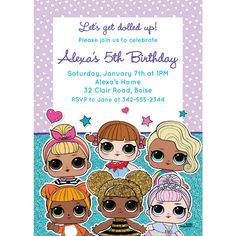 Customize your slumber party or birthday party invitations with themed templates from LOL Surprise! Find matching LOL Surprise party supplies at Party City. Surprise Birthday Invitations, Halloween Invitations, Happy Birthday Cards, Birthday Party Themes, 5th Birthday, Invitation Cards, Doll Party, Party Kit, Mariana