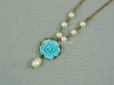 Swarovski cream pearl and light blue rose flower cabochon collar necklace. FSK0029