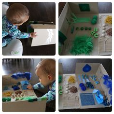 DIY Baby sensory board from fold out shoe box.  #sensory #sensory board #sensory activities #colour and textures