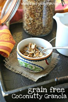 Coconutty Paleo Granola. If you are eating grain-free and miss the crunchy taste of cereal or granola, look no further. This granola is the answer. Crunchy and full of sweet clusters of mixed nuts, toasted coconut and sesame seeds, it truly resembles a more traditional granola.
