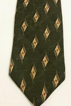 Bill Blass  Luxury Geometric 100% Silk Green Classic Mens Neck Tie  #BillBlass #NeckTie