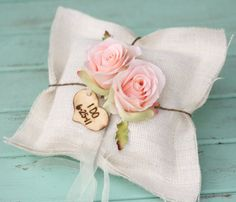 Rustic Ring Bearer Pillow Personalized Engraved Wood Heart Charm Shabby Chic Burlap on Etsy, 31,24 €