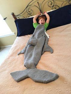 Shark Attack Lap Blanket Knitting Pattern PDF 420 by Shark Tail Blanket, Lap Blanket, Crochet Shark Blanket, Crochet For Boys, Knitting For Kids, Knitting Projects, Mermaid Tails, Baby Mermaid, Look Here