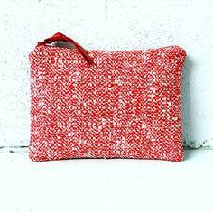 Red and white silk tweed and denim medium by amarafelicedesigns