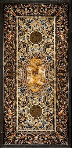 Pietra dura table top, late 16th or early 17th c. Italian, Rome. Medium: Hardstones, alabaster, and marble (pietra dura); marble frame and walnut stand; 90.8 × 239.1 × 114.6 cm, METMUSEUM