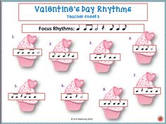 23 page PDF file of Valentine's Day themed #rhythm activities!!!    Print off or project!    #musiceducaiton    #musedchat