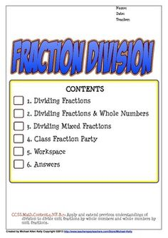 A set of worksheets for dividing fractions, dividing fractions & whole numbers and dividing mixed fractions. Each worksheet has; a diagram, a step-by-step guide, an example and ten problems.  An answer key is included.Can be used as a math center activity, a worksheet or homework.There is a word problem page with five challenging problems with language based solutions.