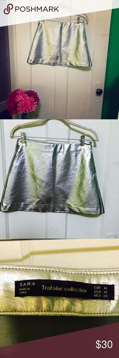 Silver Pleather Mini Skirt NWOT ZARA Trafaluc Collection Silver Pleather Mini Skirt NWOT Zara Skirts Mini