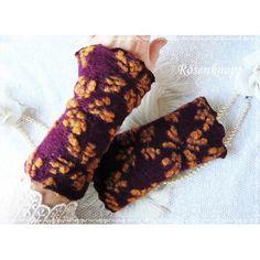 Walkstulpen aus hochwertigem Relief Woll-Walk in Bordeaux mit floralem Muster mit versäumter Kante♥
