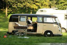 VW Camper van bus with baby's 1950s style pram.