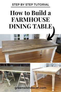 How to build a farmhouse dining. This step by step tutorial is easy to follow even if you've never built anything before. Includes supplies needed to build the table, detailed instructions to build the table. We also include how to finish the table with stain and painting tips. A beautiful DIY Farmhouse Table. DIY Table | Plans to Build Table | DIY Farmhouse Table | DIY Decor Tutorial Farmhouse Table Legs, Diy Dining Table, Funky Junk, Table Plans, Painting Tips, Diy Home Decor, Home And Garden, Create, Building