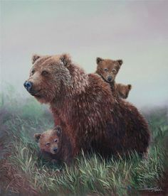 Bear and Cubs Painting: Family Outing, Wildlife paintings, mother bears remain with young up to 3 years. Cubs Tattoo, Bear Tattoos, Rib Tattoos, Foot Tattoos, Flower Tattoos, Sleeve Tattoos, Tatoos, Large Animals, Cute Animals