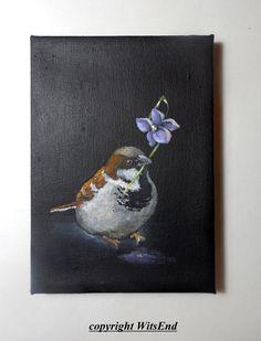 Sparrow bird painting original still life bird art by 4WitsEnd