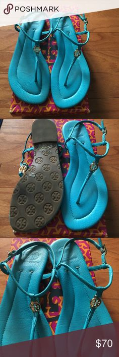 Authentic Tory Burch Turquoise Sandals Super cute authentic leather Tory Burch sandals in turquoise with gold logo and buckles. Worn a handful of times, bottoms in great shape! Clean leather with no scuffing. Tory Burch Shoes Sandals