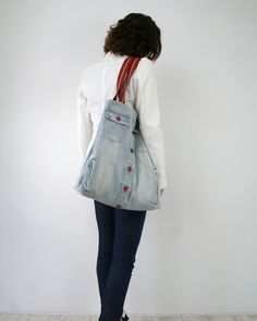 SALE Nautical tote bag - stripy weekend bag - upcycled light denim with red stripes