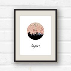 Bogota, Colombia - Colombia art - Colombia map - city skyline print