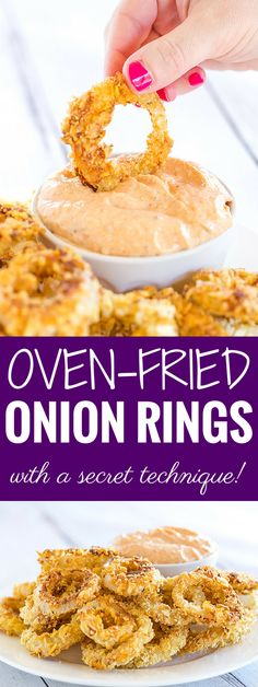 Oven-Fried Onion Rings - Less mess than the deep fried version, but with all of the crunch and flavor! And a secret technique!
