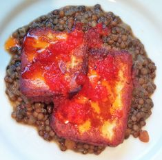 Onions and Paper: RECIPE - Halloumi with Lentils and Sweet Chilli Roasted Shallots, Sriracha Sauce, Sweet Chilli, Frying Oil, Halloumi, Cherry Tomatoes, Lentils, Cooking Time, Onions