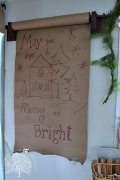 Vintage Paper Roll with Christmas Drawing  Cottage in the Oaks