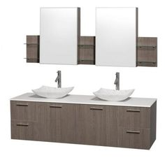 Visit The Home Depot to buy Wyndham Collection Amare 72 in. Double Vanity in Grey Oak with Glass Vanity Top in Aqua and Ivory Marble Sinks Oak Bathroom Vanity, Double Sink Bathroom, Glass Vanity, Vanity Set With Mirror, Wall Mounted Vanity, Vanity Sink, Glass Sink, Bathroom Ideas, Bath Vanities