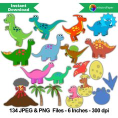 DINOSAUR CLIPART - 134 png files 6 inches 300 dpi for Cardmaking, Scrapbooking…