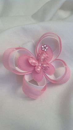 Items similar to Carlykins Boutique Baby Girl Hair Accessories Felt Butterfly on a Snap Clip Infant, Toddler, on Etsy Hair Ribbons, Diy Hair Bows, Making Hair Bows, Ribbon Art, Ribbon Crafts, Ribbon Bows, Baby Girl Hair Accessories, Baby Girl Boutique, Barrettes